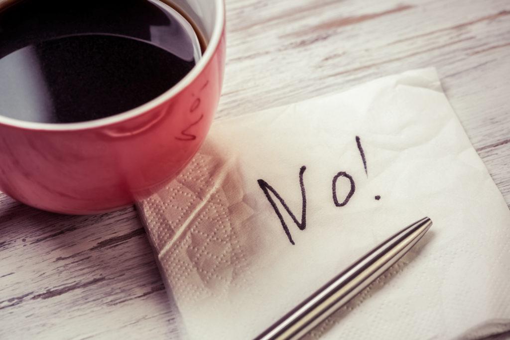 Word NO on napkin
