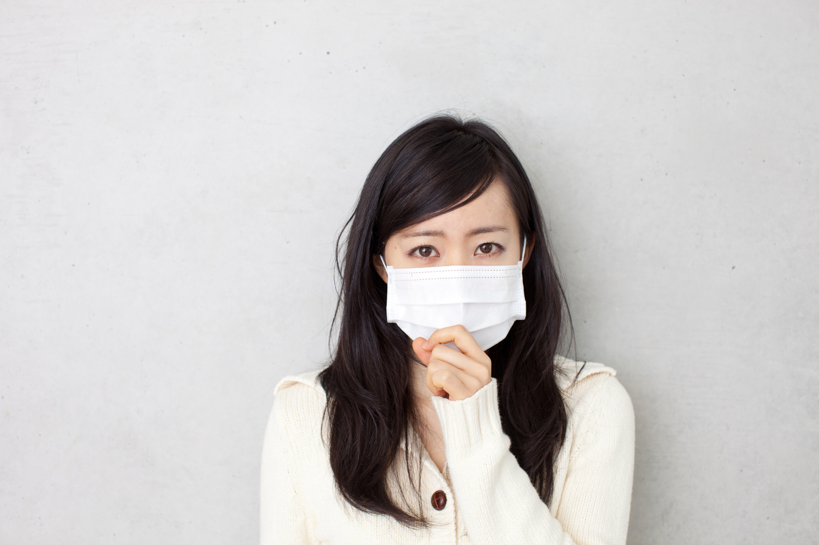 Woman in Flu Mask