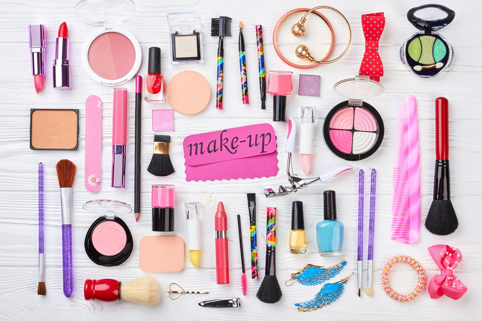 Set of cosmetics and accessories.