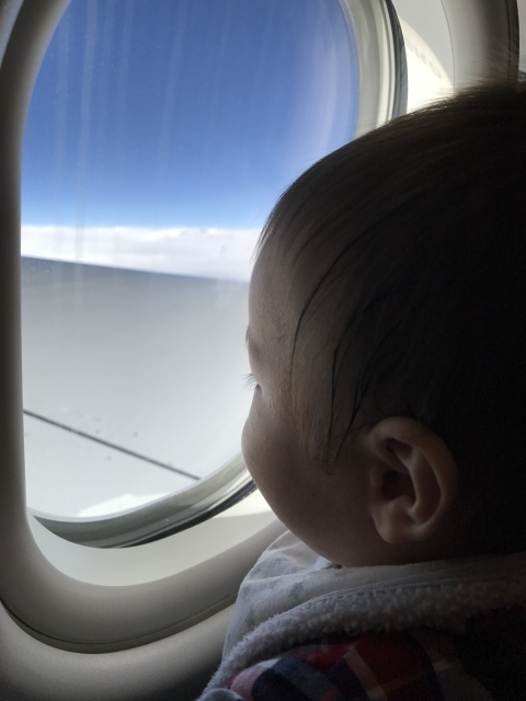 A baby is staring at sky
