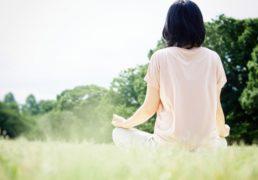 瞑想をしてリラックスする女性の後ろ姿の写真