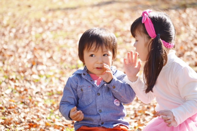 Kid and baby are talking secret story
