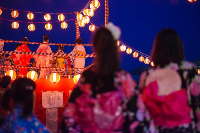 Girls are watching Bon Festival Dance