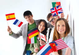 Young ppl have flags