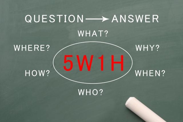 5W1Hの説明をした黒板