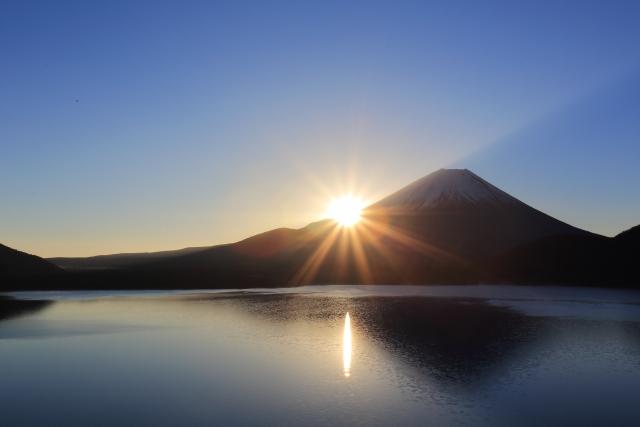 富士山から朝日が昇る写真
