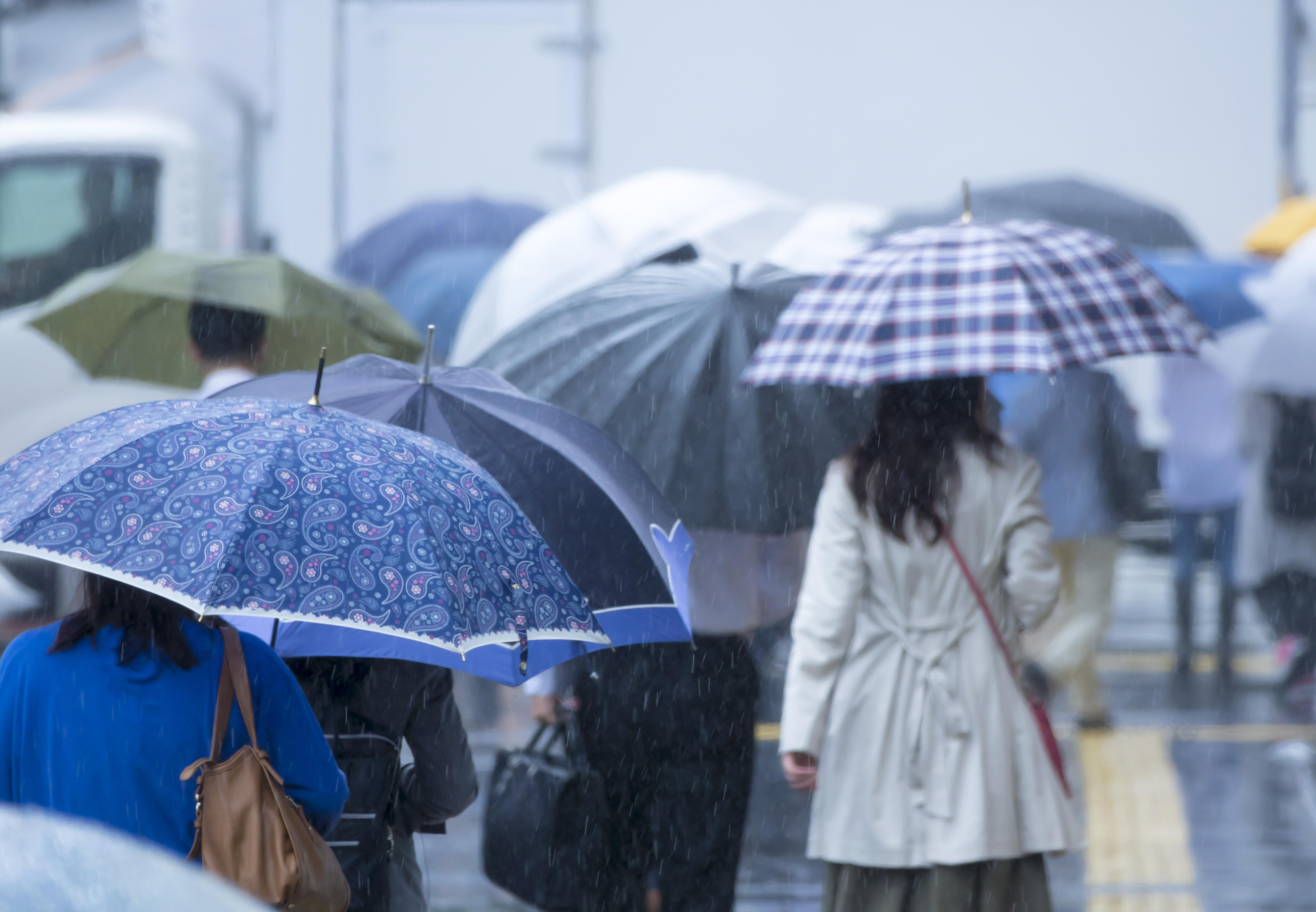 雨の日の通勤の様子