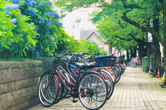 歩道にずらっと並ぶ違法駐車?な自転車の写真